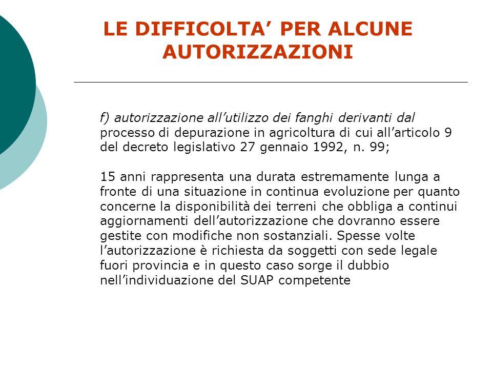 LE DIFFICOLTA PER ALCUNE AUTORIZZAZIONI b) comunicazione preventiva di cui allarticolo 112 del decreto legislativo 3 aprile 2006, n.