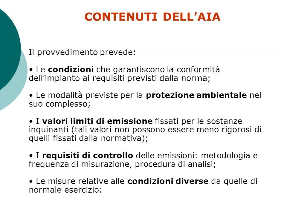 LE ATTIVITA SOGGETTE AD AIA Attività comprese nellAllegato VII e XII del D.lgs 152/06 1.ATTIVITÀ ENERGETICHE 2.PRODUZIONE E TRASFORMAZIONE DEI METALLI 3.INDUSTRIA DEI PRODOTTI MINERALI 4.INDUSTRIA CHIMICA 5.GESTIONE DEI RIFIUTI 6.ALTRE ATTIVITA (cartiere, industrie tessile, macelli, concerie, alcune tipologie di allevamenti) DURATA DELLAUTORIZZAZIONE 5 anni 6anni per Aziende certificate ISO 14001 8 anni per Aziende registrate EMAS II 10 anni per allevamenti