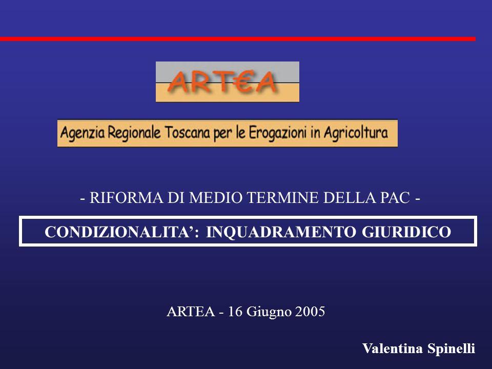 CONDIZIONALITA: INQUADRAMENTO GIURIDICO ARTEA - 16 Giugno 2005 Valentina Spinelli - RIFORMA DI MEDIO TERMINE DELLA PAC -