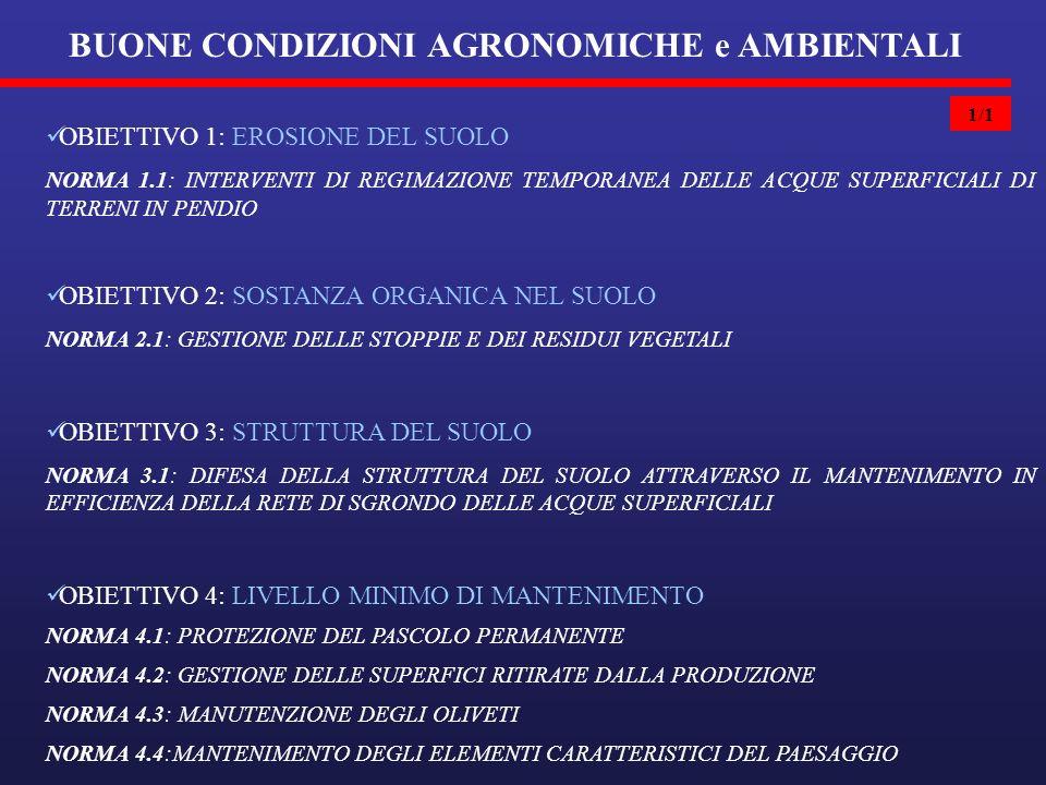 1/1 BUONE CONDIZIONI AGRONOMICHE e AMBIENTALI OBIETTIVO 1: EROSIONE DEL SUOLO NORMA 1.1: INTERVENTI DI REGIMAZIONE TEMPORANEA DELLE ACQUE SUPERFICIALI DI TERRENI IN PENDIO OBIETTIVO 2: SOSTANZA ORGANICA NEL SUOLO NORMA 2.1: GESTIONE DELLE STOPPIE E DEI RESIDUI VEGETALI OBIETTIVO 3: STRUTTURA DEL SUOLO NORMA 3.1: DIFESA DELLA STRUTTURA DEL SUOLO ATTRAVERSO IL MANTENIMENTO IN EFFICIENZA DELLA RETE DI SGRONDO DELLE ACQUE SUPERFICIALI OBIETTIVO 4: LIVELLO MINIMO DI MANTENIMENTO NORMA 4.1: PROTEZIONE DEL PASCOLO PERMANENTE NORMA 4.2: GESTIONE DELLE SUPERFICI RITIRATE DALLA PRODUZIONE NORMA 4.3: MANUTENZIONE DEGLI OLIVETI NORMA 4.4:MANTENIMENTO DEGLI ELEMENTI CARATTERISTICI DEL PAESAGGIO