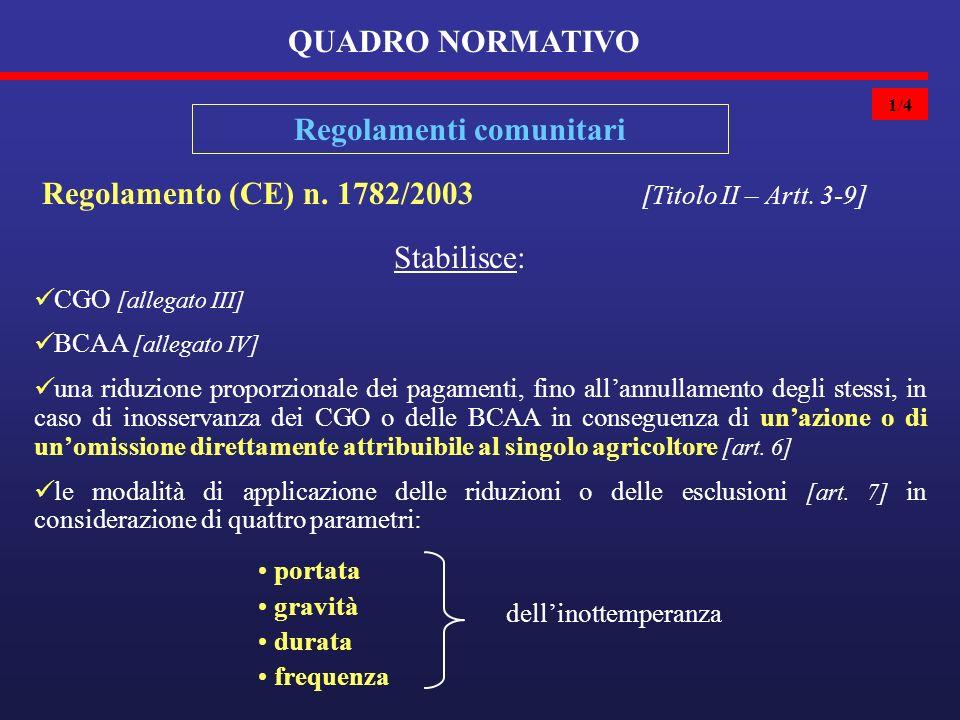 1/4 QUADRO NORMATIVO Regolamenti comunitari Regolamento (CE) n.