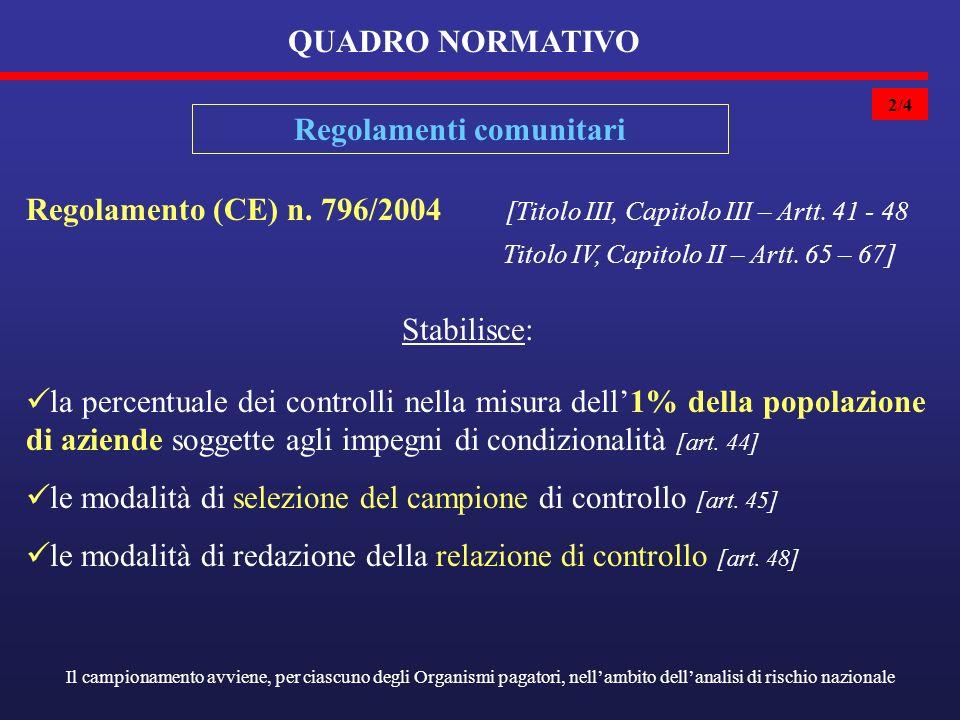 2/4 QUADRO NORMATIVO Regolamenti comunitari Regolamento (CE) n.