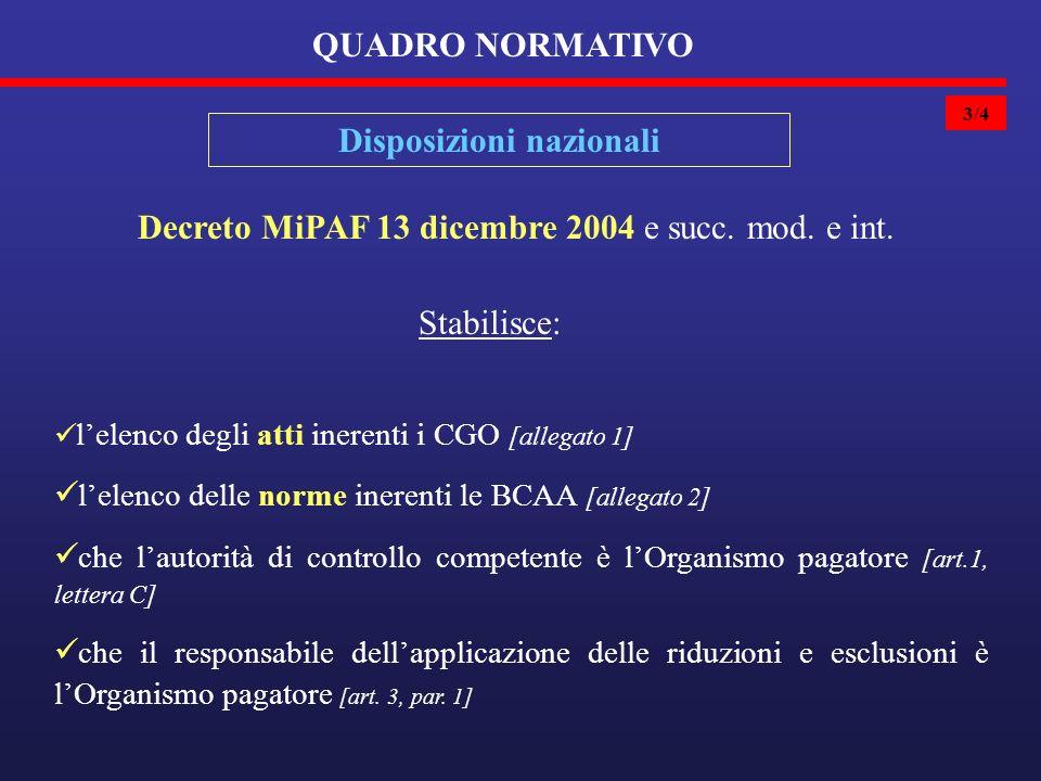 3/4 QUADRO NORMATIVO Disposizioni nazionali Decreto MiPAF 13 dicembre 2004 e succ.