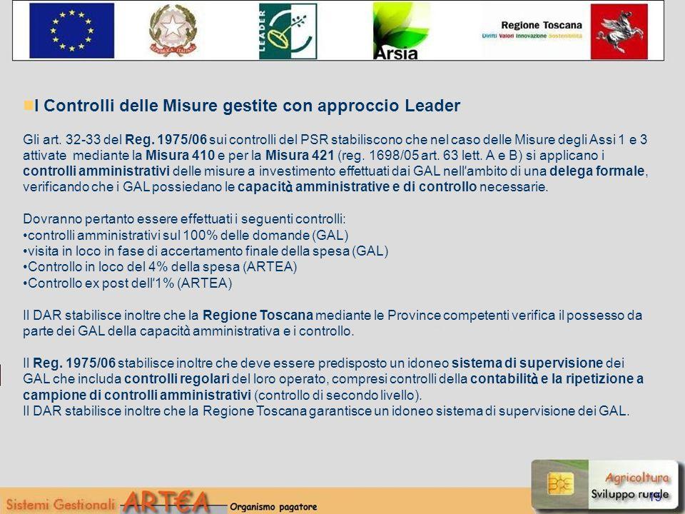 15 I Controlli delle Misure gestite con approccio Leader Gli art.