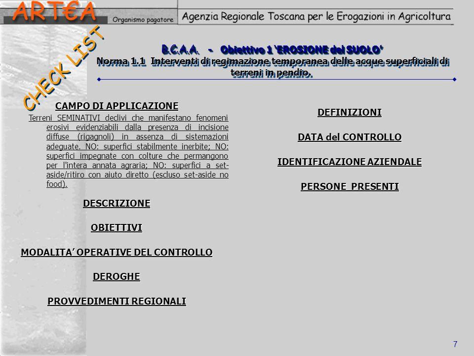 6 Operatività Metodologica: CHECK LIST 2 schede (entrata/appezzamenti) + 10 Liste di Controllo: CODICE IDENTIFICATIVO LIVELLO DI COMPETENZA sulla NORMATIVA di riferimento (*) Controllo aziendale
