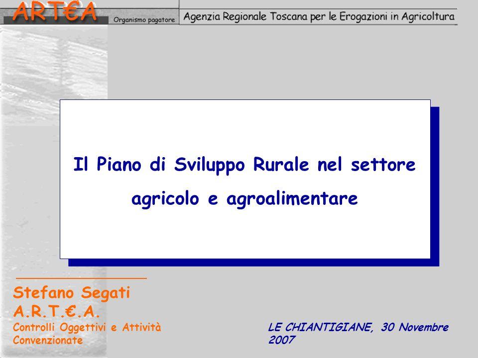 Il Piano di Sviluppo Rurale nel settore agricolo e agroalimentare Stefano Segati A.R.T..A. Controlli Oggettivi e Attività Convenzionate LE CHIANTIGIAN