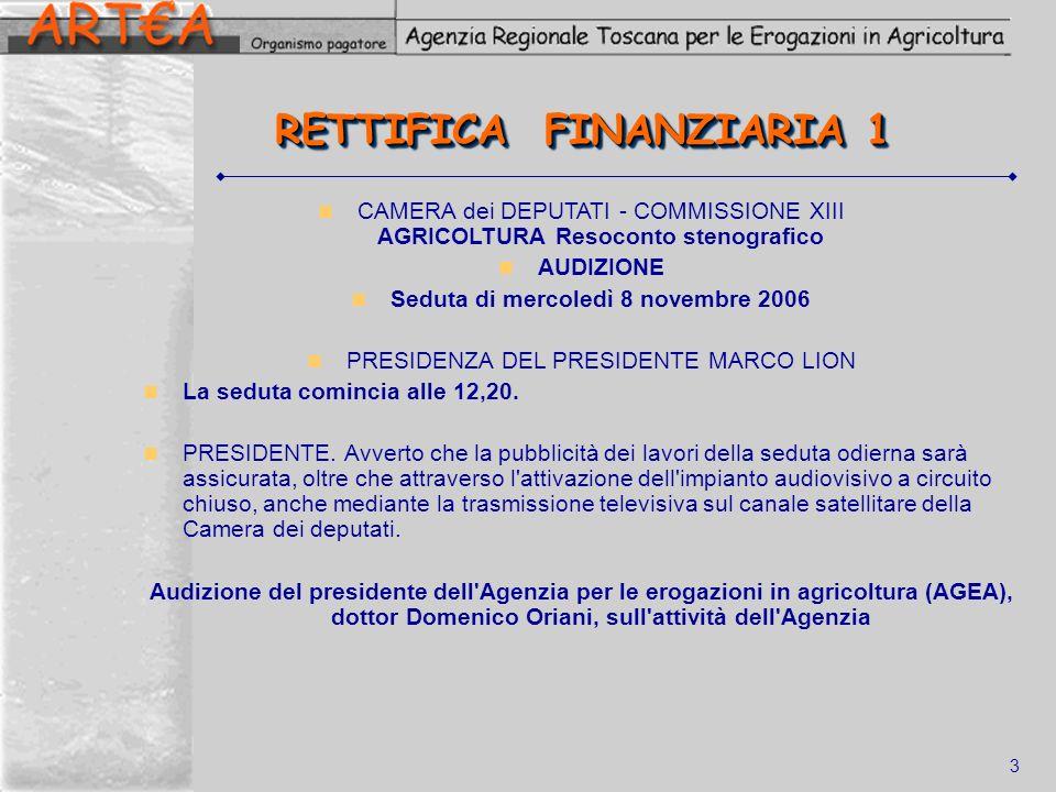 3 RETTIFICA FINANZIARIA 1 CAMERA dei DEPUTATI - COMMISSIONE XIII AGRICOLTURA Resoconto stenografico AUDIZIONE Seduta di mercoledì 8 novembre 2006 PRES