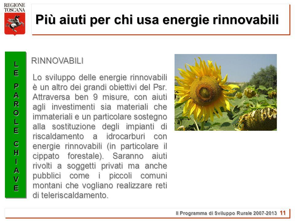 Il Programma di Sviluppo Rurale 2007-2013 11 Più aiuti per chi usa energie rinnovabili LELEPAROLEPAROLECHIAVECHIAVELELEPAROLEPAROLECHIAVECHIAVE Lo sviluppo delle energie rinnovabili è un altro dei grandi obiettivi del Psr.