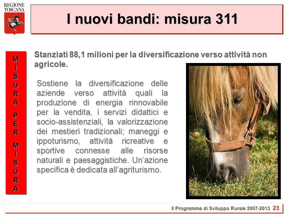 Il Programma di Sviluppo Rurale 2007-2013 23 I nuovi bandi: misura 311 MISURAMISURAPERPERMISURAMISURAMISURAMISURAPERPERMISURAMISURA Stanziati 88,1 milioni per la diversificazione verso attività non agricole.