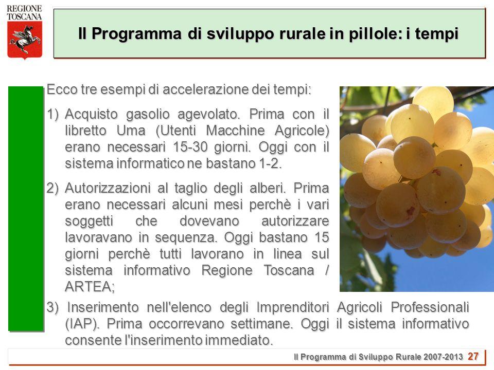 Il Programma di Sviluppo Rurale 2007-2013 27 Il Programma di sviluppo rurale in pillole: i tempi Ecco tre esempi di accelerazione dei tempi: 1)Acquisto gasolio agevolato.