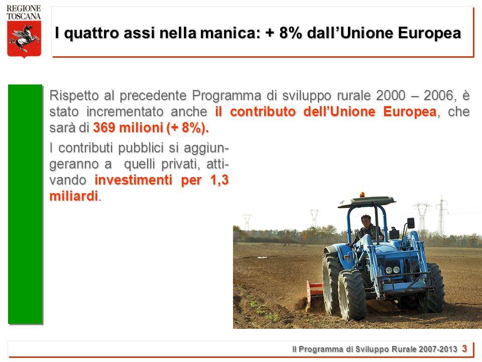 Il Programma di Sviluppo Rurale 2007-2013 24 Il Programma di sviluppo rurale in pillole: i bandi La Toscana è la prima Regione in assoluto ad aver approntato i bandi.