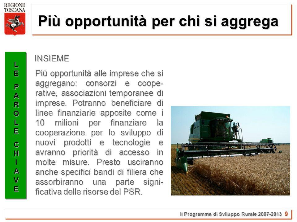 Il Programma di Sviluppo Rurale 2007-2013 10 Più attenzione alle filiere LELEPAROLEPAROLECHIAVECHIAVELELEPAROLEPAROLECHIAVECHIAVE Il valore della filiera produttiva viene riconosciuto in tutta la sua importanza.
