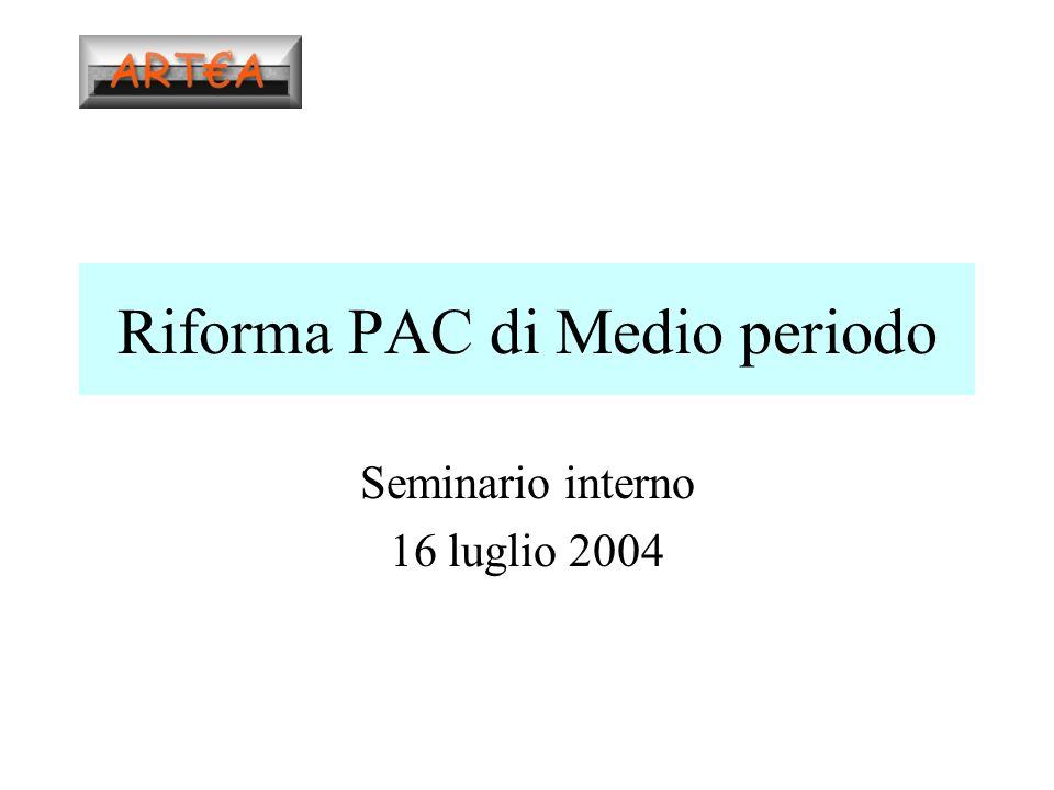 Riforma PAC di Medio periodo Seminario interno 16 luglio 2004