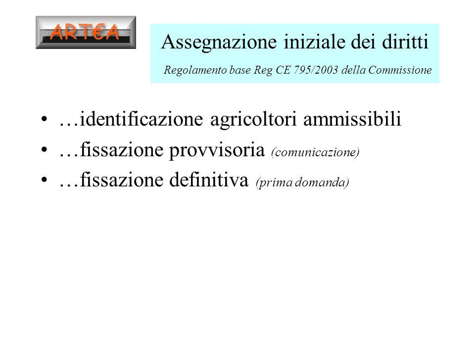 Assegnazione iniziale dei diritti Regolamento base Reg CE 795/2003 della Commissione …identificazione agricoltori ammissibili …fissazione provvisoria (comunicazione) …fissazione definitiva (prima domanda)
