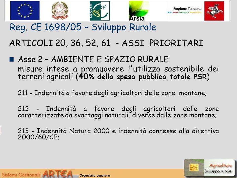 ARTICOLI 20, 36, 52, 61 - ASSI PRIORITARI Asse 2 – AMBIENTE E SPAZIO RURALE misure intese a promuovere l utilizzo sostenibile dei terreni agricoli (40 % della spesa pubblica totale PSR) 211 - Indennità a favore degli agricoltori delle zone montane; 212 - Indennità a favore degli agricoltori delle zone caratterizzate da svantaggi naturali, diverse dalle zone montane; 213 - Indennità Natura 2000 e indennità connesse alla direttiva 2000/60/CE; Reg.