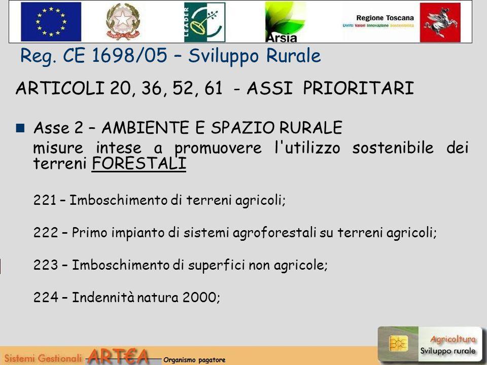 ARTICOLI 20, 36, 52, 61 - ASSI PRIORITARI Asse 2 – AMBIENTE E SPAZIO RURALE misure intese a promuovere l utilizzo sostenibile dei terreni FORESTALI 221 – Imboschimento di terreni agricoli; 222 – Primo impianto di sistemi agroforestali su terreni agricoli; 223 – Imboschimento di superfici non agricole; 224 – Indennità natura 2000; Reg.
