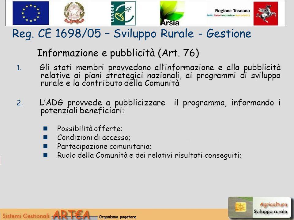 Informazione e pubblicità (Art. 76) 1.