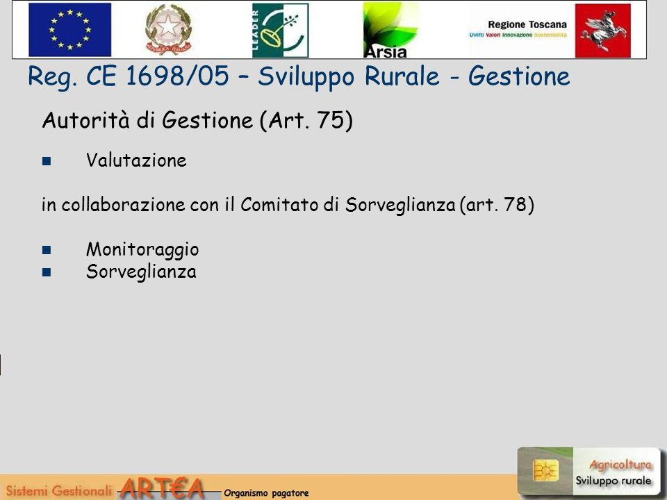 Autorità di Gestione (Art. 75) Valutazione in collaborazione con il Comitato di Sorveglianza (art.