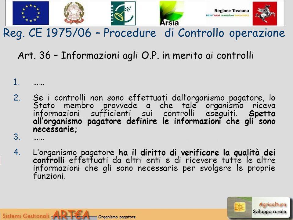 Art. 36 – Informazioni agli O.P.