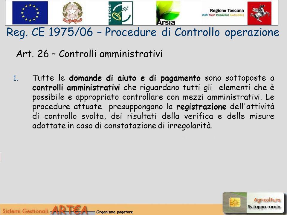 Art. 26 – Controlli amministrativi 1.