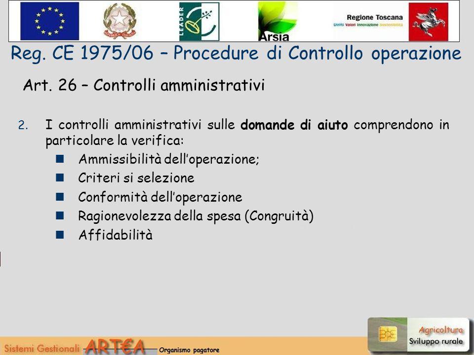 Art. 26 – Controlli amministrativi 2.