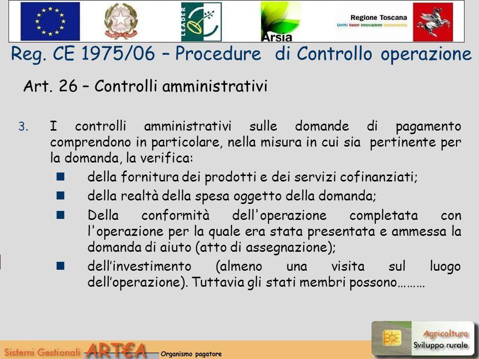 Art. 26 – Controlli amministrativi 3.