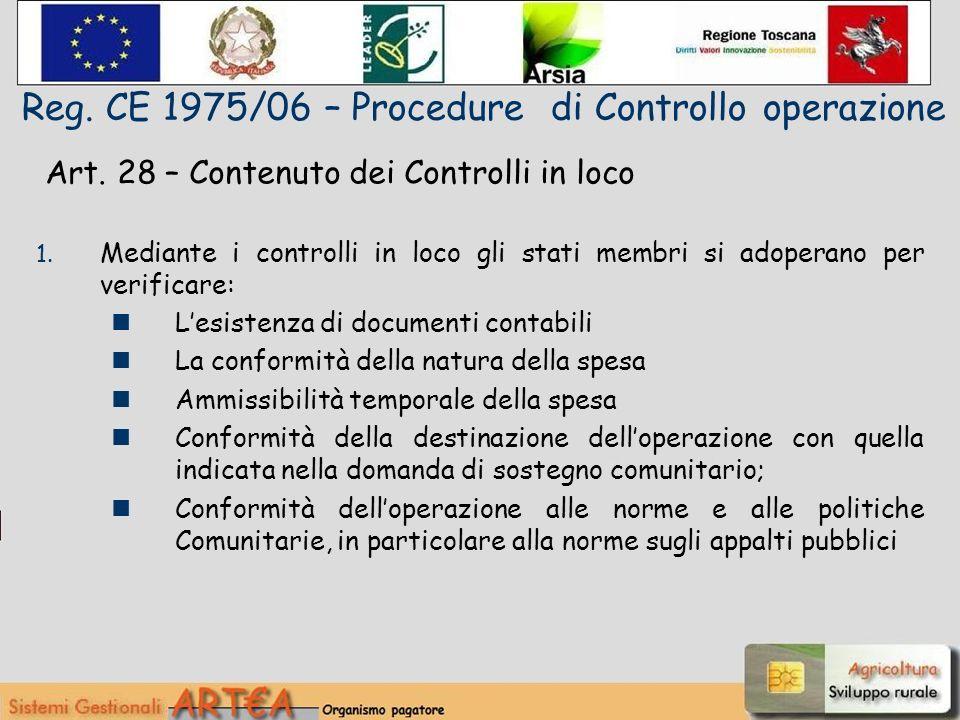 Art. 28 – Contenuto dei Controlli in loco 1.