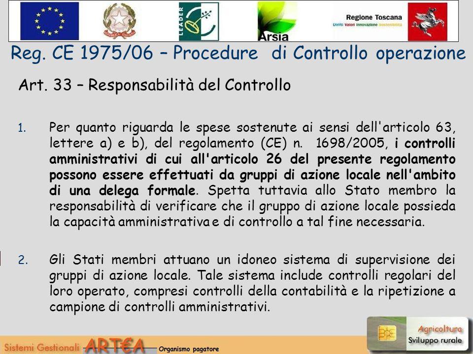 Art. 33 – Responsabilità del Controllo 1.