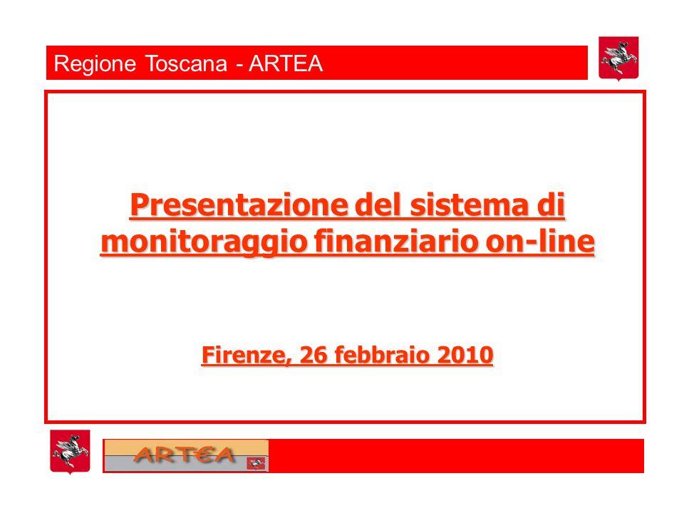 Regione Toscana - ARTEA Presentazione del sistema di monitoraggio finanziario on-line Firenze, 26 febbraio 2010