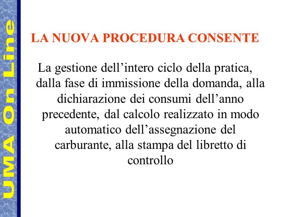 LA NUOVA PROCEDURA CONSENTE La gestione dellintero ciclo della pratica, dalla fase di immissione della domanda, alla dichiarazione dei consumi dellann