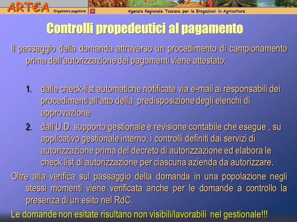 ARTA Organismo pagatore Agenzia Regionale Toscana per le Erogazioni in AgricolturaARTA Organismo pagatore Agenzia Regionale Toscana per le Erogazioni in Agricoltura Controlli propedeutici al pagamento Il passaggio della domanda attraverso un procedimento di campionamento prima dellautorizzazione dei pagamenti viene attestato: 1.