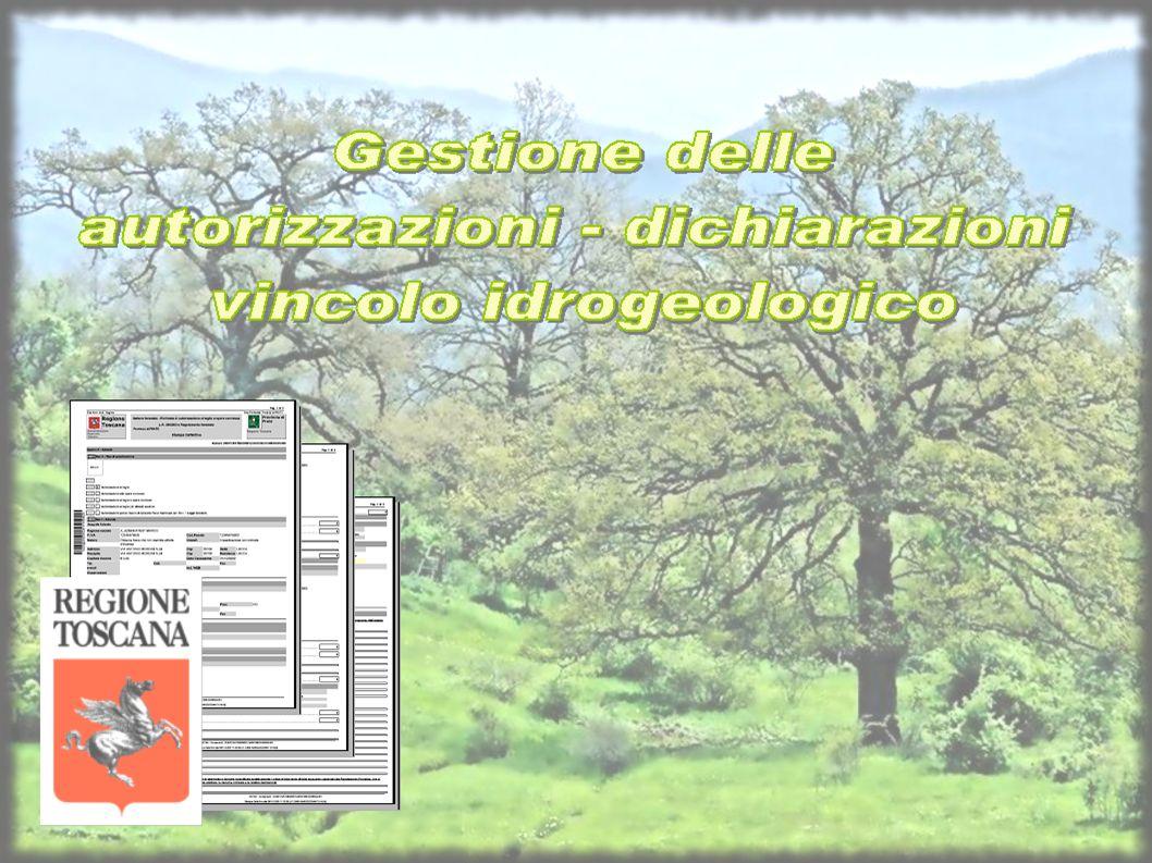 Regione Toscana Settore Foreste e Patrimonio Agro-Forestale Domande on-line Iter autorizzativo Compilazione anagrafico Creazione domanda Istruttoria amministrativa Istruttoria tecnica Rilascio autorizzazione