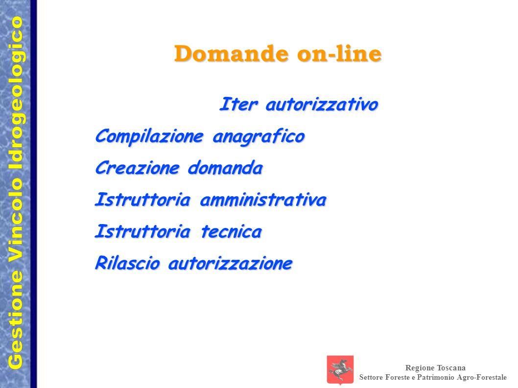 Regione Toscana Settore Foreste e Patrimonio Agro-Forestale Domande on-line Iter autorizzativo Compilazione anagrafico Creazione domanda Istruttoria a