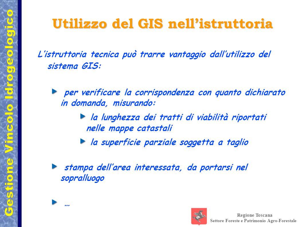 Regione Toscana Settore Foreste e Patrimonio Agro-Forestale Utilizzo del GIS nellistruttoria Listruttoria tecnica può trarre vantaggio dallutilizzo de