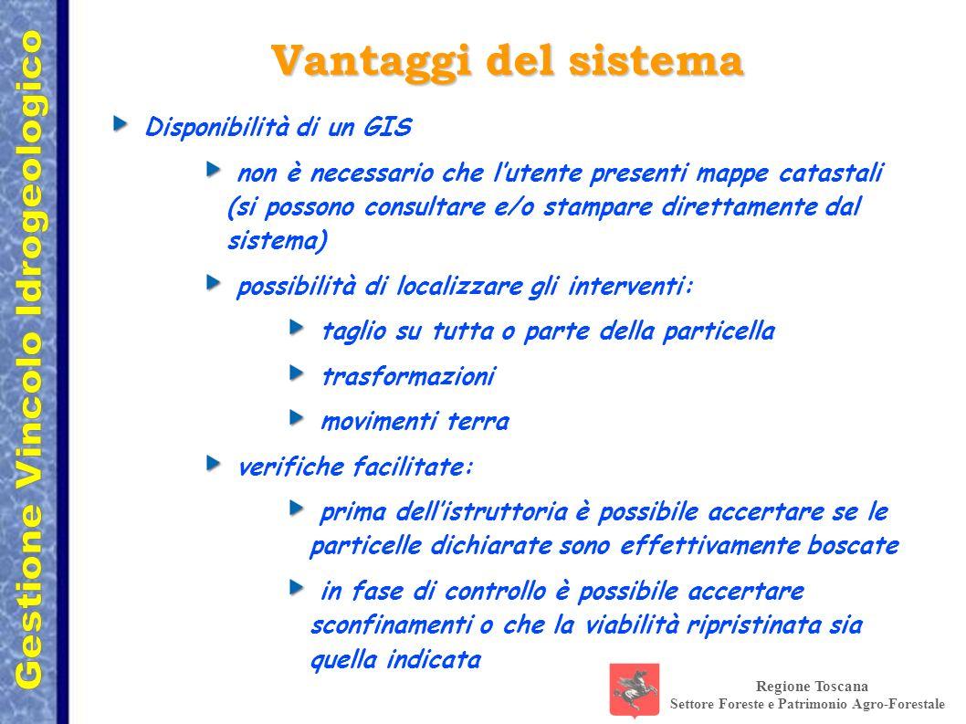Regione Toscana Settore Foreste e Patrimonio Agro-Forestale Disponibilità di un GIS non è necessario che lutente presenti mappe catastali (si possono