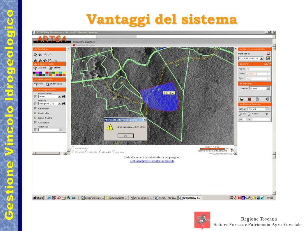 Regione Toscana Settore Foreste e Patrimonio Agro-Forestale Vantaggi del sistema