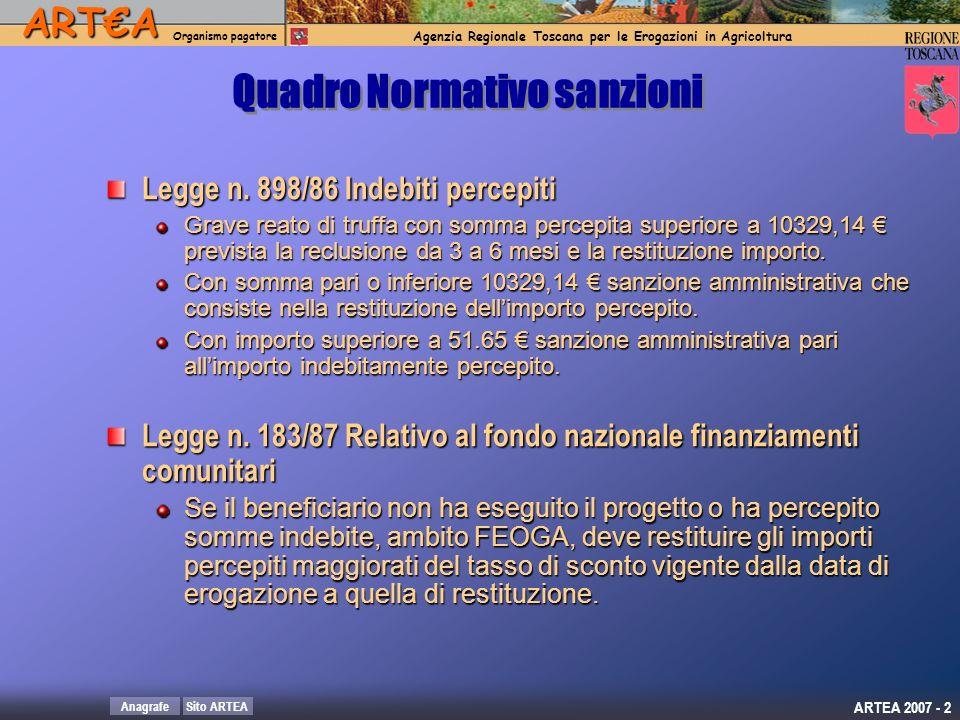 ARTA Organismo pagatore Agenzia Regionale Toscana per le Erogazioni in AgricolturaARTA Organismo pagatore Agenzia Regionale Toscana per le Erogazioni in Agricoltura Sito ARTEAAnagrafe ARTEA 2007 - 3 Regolamento CEE n.