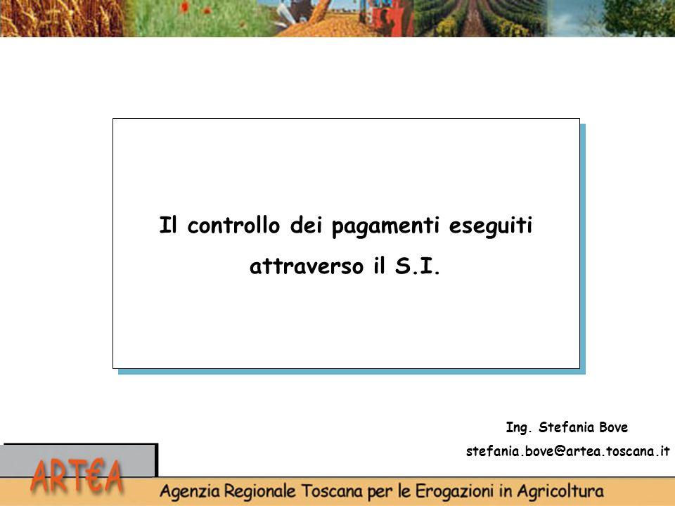 Ing. Stefania Bove stefania.bove@artea.toscana.it Il controllo dei pagamenti eseguiti attraverso il S.I.