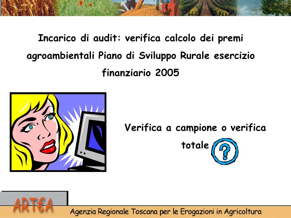 Verifica a campione o verifica totale Incarico di audit: verifica calcolo dei premi agroambientali Piano di Sviluppo Rurale esercizio finanziario 2005