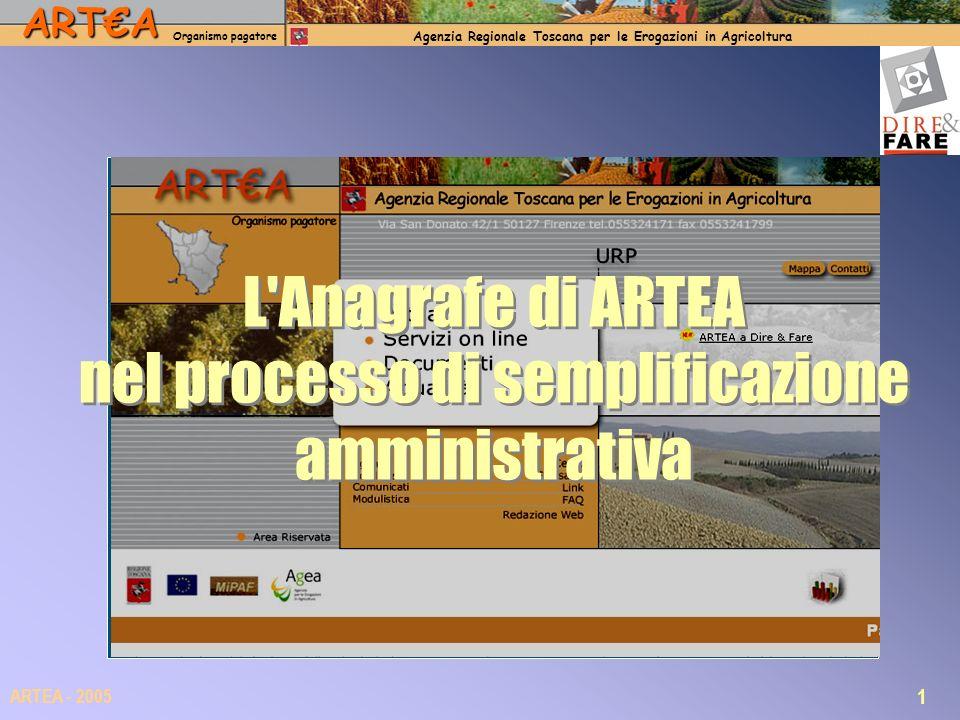 ARTA Organismo pagatore Agenzia Regionale Toscana per le Erogazioni in Agricoltura 1 ARTEA - 2005 L Anagrafe di ARTEA nel processo di semplificazione amministrativa
