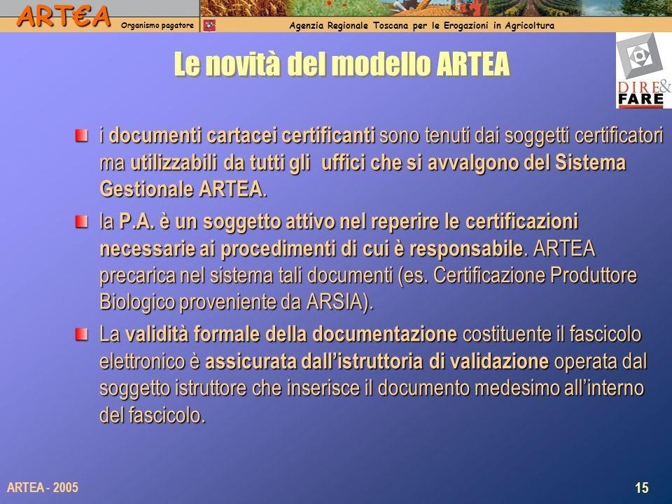 ARTA Organismo pagatore Agenzia Regionale Toscana per le Erogazioni in Agricoltura 15 ARTEA - 2005 Le novità del modello ARTEA i documenti cartacei certificanti sono tenuti dai soggetti certificatori ma utilizzabili da tutti gli uffici che si avvalgono del Sistema Gestionale ARTEA.