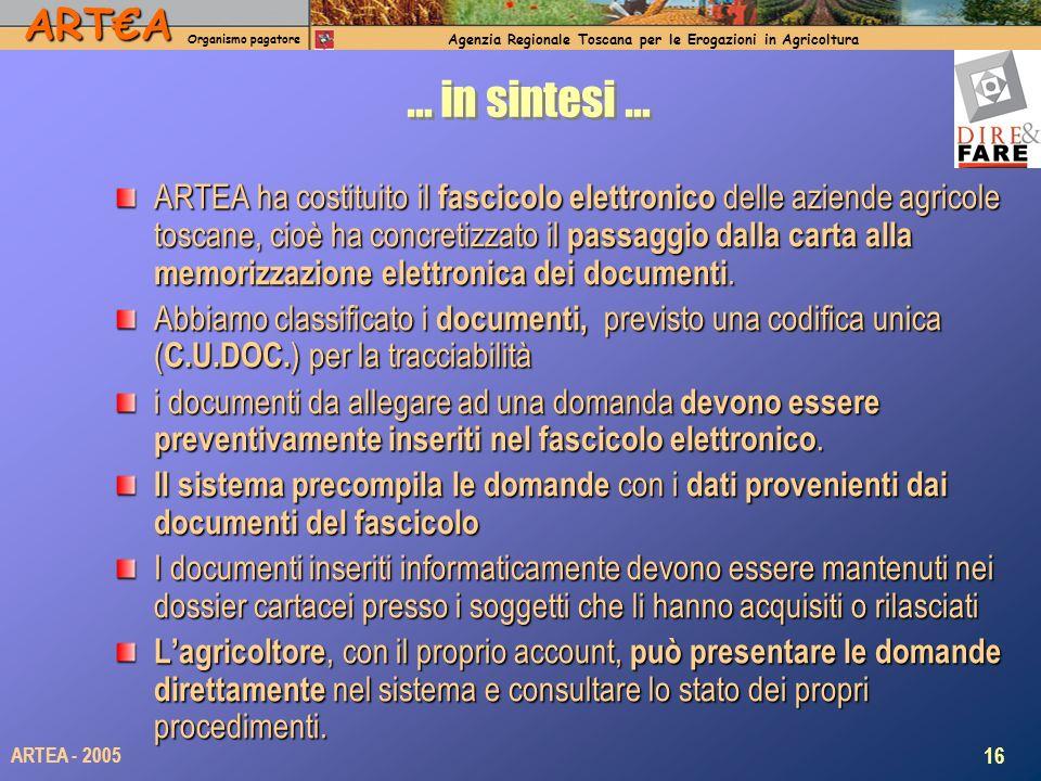 ARTA Organismo pagatore Agenzia Regionale Toscana per le Erogazioni in Agricoltura 16 ARTEA - 2005 … in sintesi … ARTEA ha costituito il fascicolo ele
