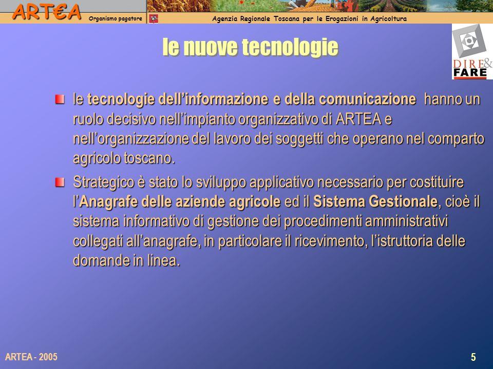 ARTA Organismo pagatore Agenzia Regionale Toscana per le Erogazioni in Agricoltura 5 ARTEA - 2005 le nuove tecnologie le tecnologie dellinformazione e della comunicazione hanno un ruolo decisivo nellimpianto organizzativo di ARTEA e nellorganizzazione del lavoro dei soggetti che operano nel comparto agricolo toscano.