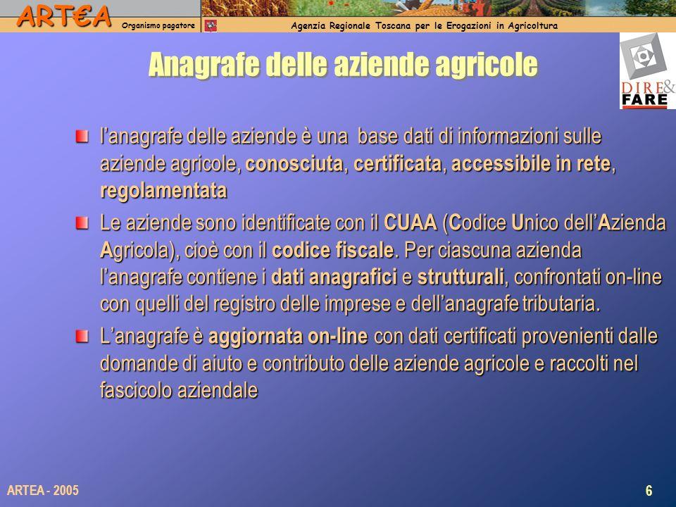 ARTA Organismo pagatore Agenzia Regionale Toscana per le Erogazioni in Agricoltura 6 ARTEA - 2005 Anagrafe delle aziende agricole lanagrafe delle azie