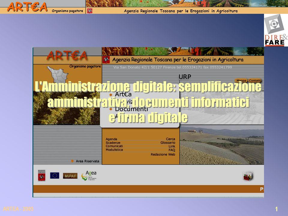ARTA Organismo pagatore Agenzia Regionale Toscana per le Erogazioni in Agricoltura 12 ARTEA - 2005 Diritto allaccesso ed allinvio di documenti digitali Il nuovo modello adottato per il Sistema Gestionale ARTEA: la domanda è prodotta in formato XML, firmata digitalmente, protocollata dal sistema e salvata nel database come documento informatico.