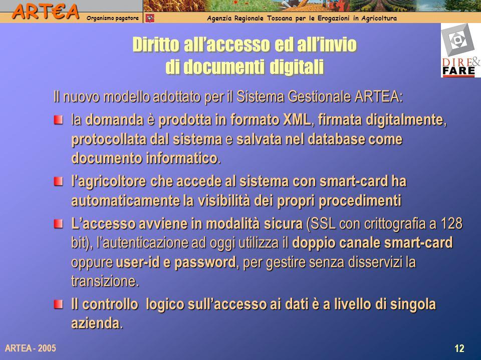 ARTA Organismo pagatore Agenzia Regionale Toscana per le Erogazioni in Agricoltura 12 ARTEA - 2005 Diritto allaccesso ed allinvio di documenti digital