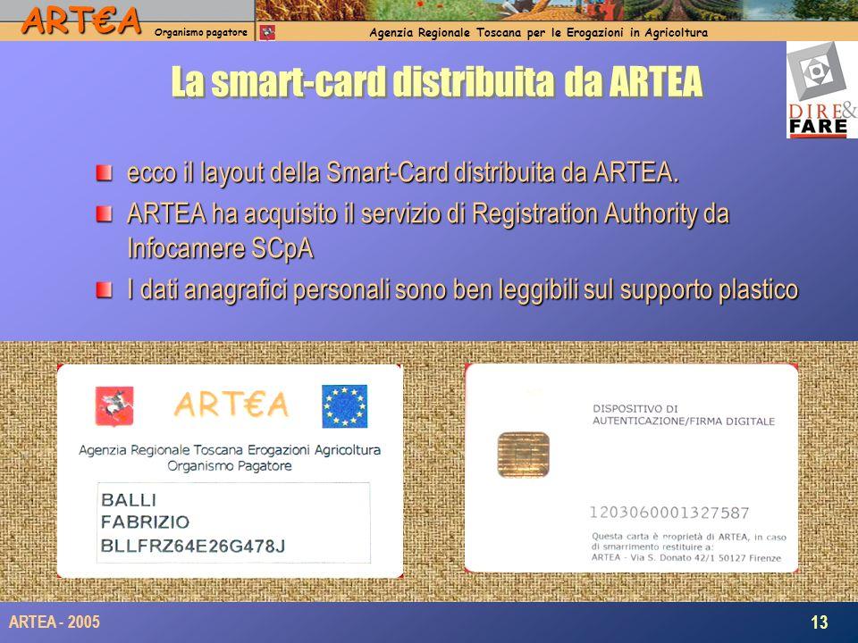 ARTA Organismo pagatore Agenzia Regionale Toscana per le Erogazioni in Agricoltura 13 ARTEA - 2005 La smart-card distribuita da ARTEA ecco il layout della Smart-Card distribuita da ARTEA.