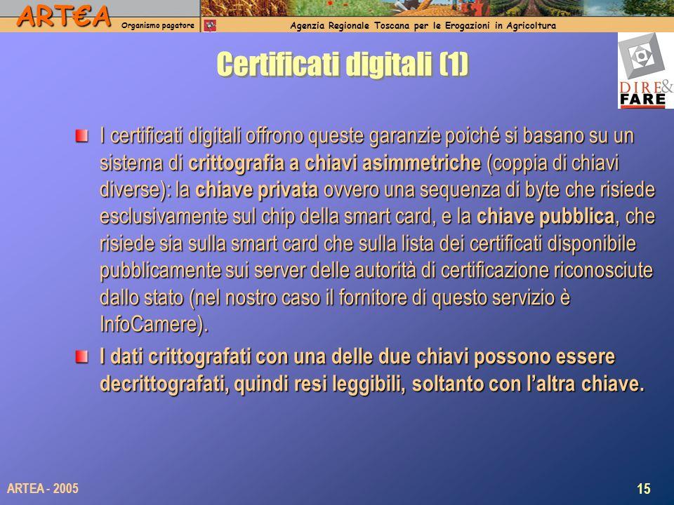 ARTA Organismo pagatore Agenzia Regionale Toscana per le Erogazioni in Agricoltura 15 ARTEA - 2005 Certificati digitali (1) I certificati digitali offrono queste garanzie poiché si basano su un sistema di crittografia a chiavi asimmetriche (coppia di chiavi diverse): la chiave privata ovvero una sequenza di byte che risiede esclusivamente sul chip della smart card, e la chiave pubblica, che risiede sia sulla smart card che sulla lista dei certificati disponibile pubblicamente sui server delle autorità di certificazione riconosciute dallo stato (nel nostro caso il fornitore di questo servizio è InfoCamere).
