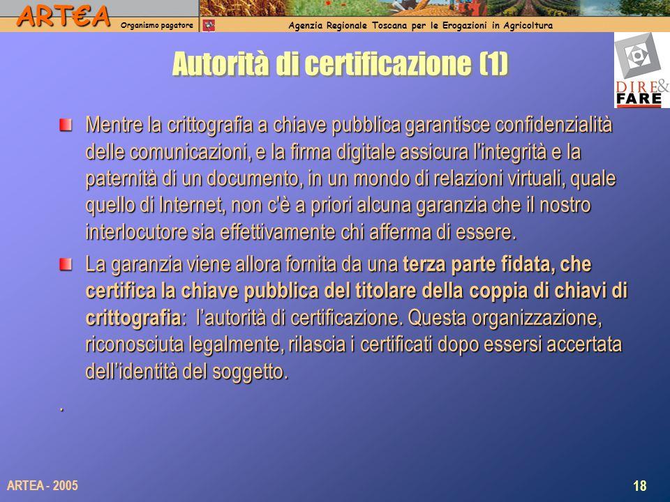 ARTA Organismo pagatore Agenzia Regionale Toscana per le Erogazioni in Agricoltura 18 ARTEA - 2005 Autorità di certificazione (1) Mentre la crittografia a chiave pubblica garantisce confidenzialità delle comunicazioni, e la firma digitale assicura l integrità e la paternità di un documento, in un mondo di relazioni virtuali, quale quello di Internet, non c è a priori alcuna garanzia che il nostro interlocutore sia effettivamente chi afferma di essere.