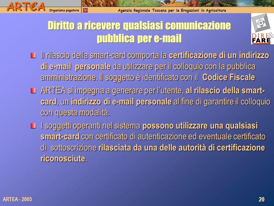 ARTA Organismo pagatore Agenzia Regionale Toscana per le Erogazioni in Agricoltura 20 ARTEA - 2005 Diritto a ricevere qualsiasi comunicazione pubblica per e-mail Il rilascio della smart-card comporta la certificazione di un indirizzo di e-mail personale da utilizzare per il colloquio con la pubblica amministrazione.